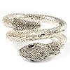 Dazzling Coil Flex Snake Bangle Bracelet (Silver Tone)
