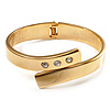 Gold Plated Crystal Hinged Bypass Bangle Bracelet