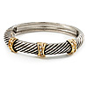 'Criss Cross' Two-Tone Hinged Bangle Bracelet