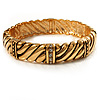 Gold Plated Rope -Textured Crystal Hinged Bangle Bracelet