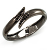 Gun Metal 'Modern Leaves' Hinged Bangle Bracelet
