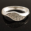 Dazzling Crystal Leaf Hinged Bangle Bracelet (Silver Tone)