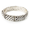 Silver Plated Rope -Textured Crystal Hinged Bangle Bracelet