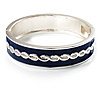Blue Ornamental Enamel Hinged Bangle Bracelet (Silver Tone)