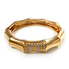 Gold Plated Diamante Multifaceted Hinged Bangle Bracelet