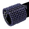 Wide Purple Acrylic Bead Flex Bangle Bracelet - 6cm Width