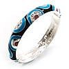 Rhodium Plated Multicoloured Crystal Enamel Bangle Bracelet