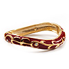 Red Enamel Curvy Crystal Hinged Bangle (Gold Tone Finish)
