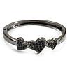 Gun Metal Diamante Heart Hinged Bangle Bracelet