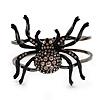 Gun Metal Crystal Spider Hinged Bangle Bracelet