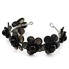 Slate Black Floral Shell Flex Cuff Bracelet