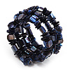 Blue Shell-Composite Coil Flex Bracelet