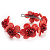 Coral Red Floral Shell Flex Cuff Bracelet