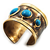 Handmade - Antique Gold Finish Turquoise Stone Wide Ethnic Cuff - Adjustable