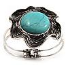 Turquoise Stone Flower Hinged Bangle Bracelet (Antique Silver)