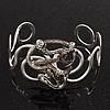 Rhodium Plated 'Snaky Knot' Flex Bangle Bracelet