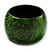 Oversized Chunky Wide Wood Bangle (Black & Grass Green)