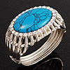Vintage Oval Shape Turquoise Stone, Crystal Hinged Bangle Bracelet