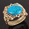 Victorian Gold Crystal, Turquoise Stone Hinged Bangle Bracelet