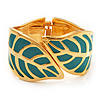 Turquoise Coloured Enamel 'Leaf' Hinged Bangle In Gold Plated Metal - 18cm Length
