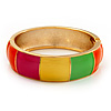 Multicoloured Enamel Hinged Bangle Bracelet In Gold Plated Metal - 18cm Length