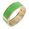 Neon Green Enamel Magnetic Bangle Bracelet In Gold Plated Metal - 18cm Length