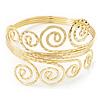 Gold Plated Textured 'Spiral' Upper Arm Bracelet Armlet - 28cm Long - Adjustable