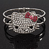 Diamante 'Kitten' With Pink Bow Hinged Bangle Bracelet In Rhodium Plated Metal