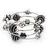 Silver-Tone Beaded Multistrand Flex Bracelet (Black)