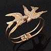 Diamante 'Swallow' Hinged Bangle Bracelet In Matt Gold Metal - up to 19cm wrist