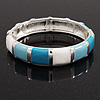 Light Blue/White Enamel Hinged Bangle Bracelet In Rhodium Plated Metal - 18cm Length