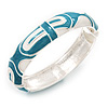 Light Blue/White Geometric Enamel Hinged Bangle Bracelet In Rhodium Plated Metal - 18cm Length