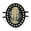 Large Simulated Pearl 'Cameo' Hinged Bangle Bracelet In Black Metal - up to 18cm wrist