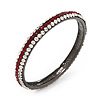 Deep Red/Clear Crystal Bangle Bracelet In Gun Metal Finish - up to 19cm length