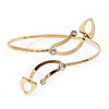 Gold Plated Textured Diamante 'Leaf' Armlet Bangle - Adjustable