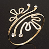 Gold Plated Textured Diamante 'Crown' Upper Arm Bracelet - Adjustable