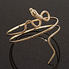 Antique Gold Textured Snake Armlet Bangle - up to 29cm upper arm