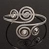 Silver Plated Textured Diamante 'Swirl' Upper Arm Bracelet - Adjustable