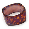 Purple/ Orange Floral Print Chunky Square Resin Bangle Bracelet - up to 20cm wrist