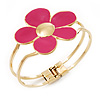 Bright Magenta Enamel 'Daisy' Floral Hinged Bangle Bracelet In Gold Finish - up to 19cm wris