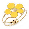 Bright Yellow Enamel 'Daisy' Floral Hinged Bangle Bracelet In Gold Finish - up to 19cm wrist
