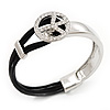 Silver Tone Diamante 'Peace' Leather Cord Bracelet - 17cm Length