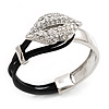 Silver Tone Diamante 'Lips' Leather Cord Bracelet - 17cm Length