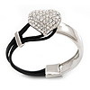 Silver Tone Diamante 'Heart' Leather Cord Bracelet - 17cm Length
