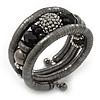 Black Hematite/Glass Beaded Coil Bangle Bracelet - Adjustable