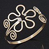 Gold Plated Textured 'Flower & Swirls' Diamante Upper Arm Bracelet Armlet - Adjustable