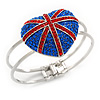 Swarovski Crystal Union Jack 'Heart' Hinged Bangle In Silver Plating - Up to 19cm Wrist