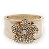 Statement Crystal 'Flower' Hinged Bangle Bracelet In Gold Plating - 18cm Length