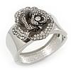 Statement Crystal 'Rose' Hinged Bangle Bracelet In Silver Plating - 18cm Length