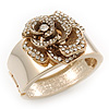 Statement Crystal 'Rose' Hinged Bangle Bracelet In Gold Plating - 18cm Length